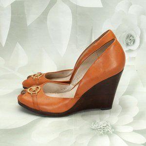 Michael Kors Leather Peep Toe Wedge Heels Shoes